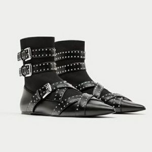 Zara Studded and Buckle Ankle Boots
